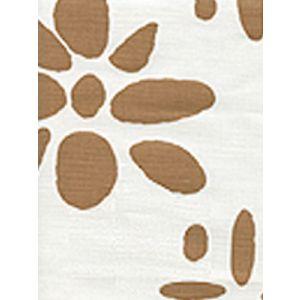 6380-12 WILDFLOWERS II Dark Camel on White Quadrille Fabric