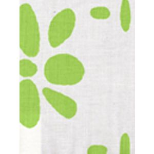 6380-02 WILDFLOWERS II Grass Green on White Quadrille Fabric