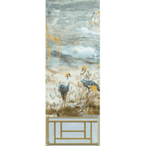 WNM 0001CRESP3 CRESTED CRANE PANEL 3 Wheat Blue Scalamandre Wallpaper