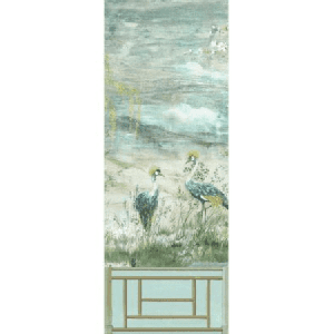 WNM 0002CRESP1 CRESTED CRANE PANEL 1 Turquoise Red Scalamandre Wallpaper