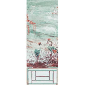 WNM 0002CRESP3 CRESTED CRANE PANEL 3 Turquoise Red Scalamandre Wallpaper