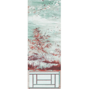 WNM 0002CRESP4 CRESTED CRANE PANEL 4 Turquoise Red Scalamandre Wallpaper