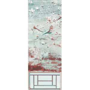 WNM 0002CRESP5 CRESTED CRANE PANEL 5 Turquoise Red Scalamandre Wallpaper