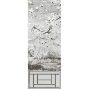 WNM 0003CRESP5 CRESTED CRANE PANEL 5 Silver Gold Scalamandre Wallpaper