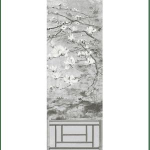 WNM 0003CRESP6 CRESTED CRANE PANEL 6 Silver Gold Scalamandre Wallpaper