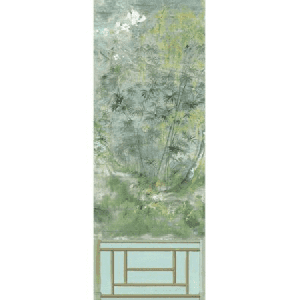WNM 0004CRESP1 CRESTED CRANE PANEL 1 Green Gold Scalamandre Wallpaper