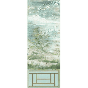 WNM 0004CRESP4 CRESTED CRANE PANEL 4 Green Gold Scalamandre Wallpaper