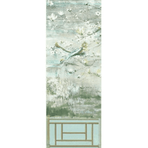 WNM 0004CRESP5 CRESTED CRANE PANEL 5 Green Gold Scalamandre Wallpaper