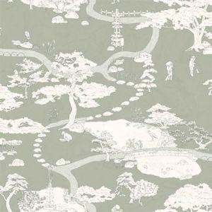 WSB 0058 0239 KENROKUEN Green Sandberg Wallpaper