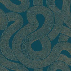 WSB 0077 0805 ZEN Gold On Teal Sandberg Wallpaper
