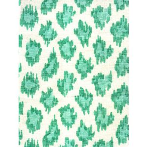 7325-04W ZIZI LEOPARD Aqua on White Quadrille Fabric