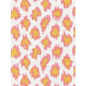 7325-03W ZIZI LEOPARD Pinks Yellow on White Quadrille Fabric