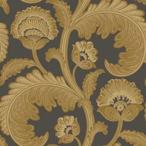 116/7027-CS Fanfare Flock Ochre Charcoal Cole & Son Wallpaper