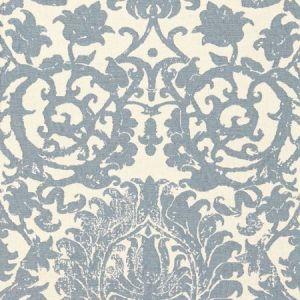 Schumacher Arezzo Linen Damask Azure 66361 Fabric