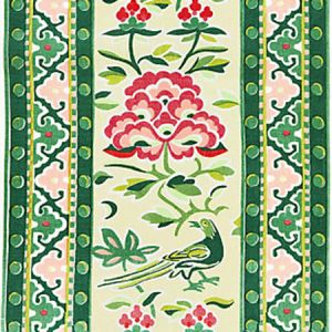 16613-002 ROYAL PEONY LINEN PRINT Spring Green Scalamandre Fabric