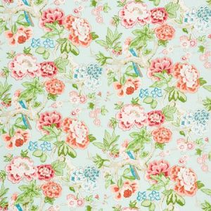 175877 BERMUDA BLOSSOMS Aqua Schumacher Fabric