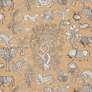 178322 ANIMALIA Carbon Sienna Schumacher Fabric