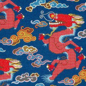 178590 MAGICAL MING DRAGON Navy Schumacher Fabric