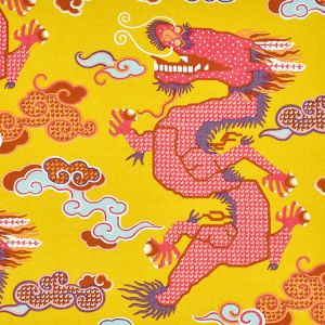 178591 MAGICAL MING DRAGON Yellow Schumacher Fabric