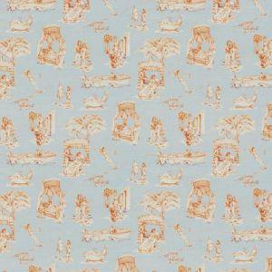 UPTOWN TOILE Bleu Mandarine Vervain Fabric