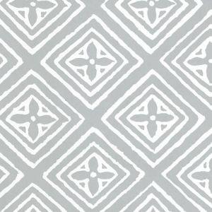 2490-22WPV FIORENTINA Windsor Blue On White Patent Vinyl Quadrille Wallpaper