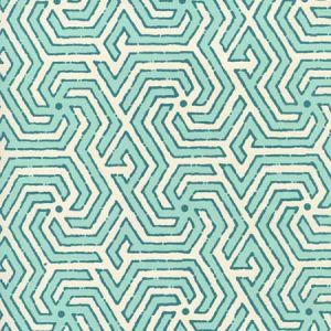 2520-01OWP MAZE REVERSE TWO COLORS Turquoise Dark Turquoise Quadrille Wallpaper