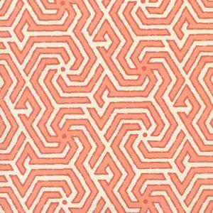 2520-05OWP MAZE REVERSE TWO COLORS Light Orange New Shrimp Quadrille Wallpaper