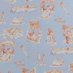 UPTOWN TOILE Bleu Mandarine 04 Vervain Wallpaper