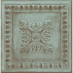 2922-24032 Hillman Ornamental Tin Tile Turquoise Brewster Wallpaper