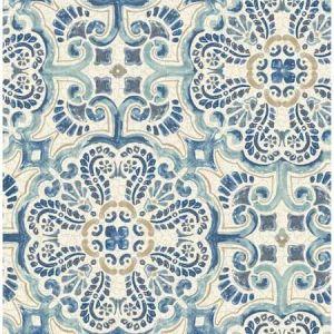 2922-24046 Florentine Faux Tile Blue Brewster Wallpaper