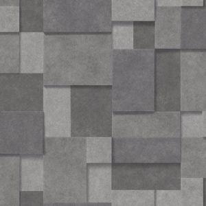 2922-25354 Duchamp Metallic Squares Dark Grey Brewster Wallpaper