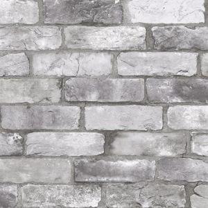 2922-25386 Rustin Reclaimed Bricks Grey Brewster Wallpaper