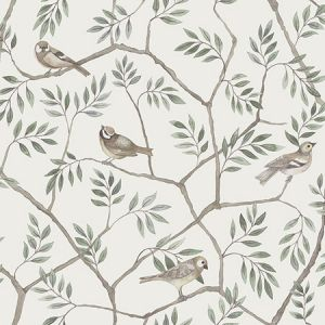 2948-27015 Crossbill Branches Off White Brewster Wallpaper