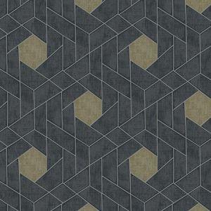 2964-25900 Granada Geometric Charcoal Brewster Wallpaper