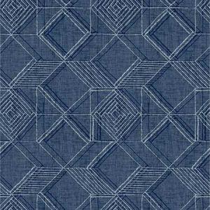 2969-26017 Moki Lattice Geometric Blue Brewster Wallpaper
