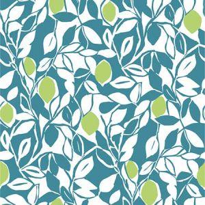 2969-26026 Loretto Citrus Teal Brewster Wallpaper