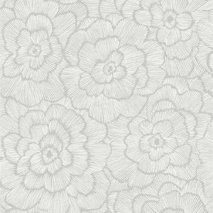 2969-26036 Periwinkle Textured Floral Light Grey Brewster Wallpaper