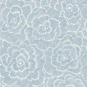 2969-26038 Periwinkle Textured Floral Grey Brewster Wallpaper