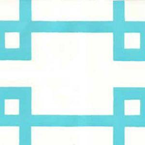 300402OWP BRIGHTON Turquoise On Off White Quadrille Wallpaper