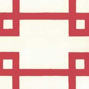 300406OWP BRIGHTON Red On Off White Quadrille Wallpaper