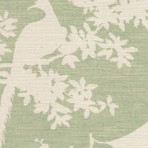 301980R-CELA PARADISE BACKGROUND Celadon On Beige Quadrille Wallpaper