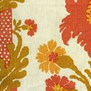 302044F-CU HENRIOT FLORAL Peach Gold on Ecru Quadrille Fabric