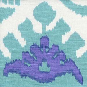 302830C-08W KAZAK Aqua Lilac on White Quadrille Fabric