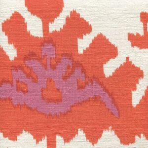 302833S KAZAK Orange Pink On Silk Quadrille Fabric