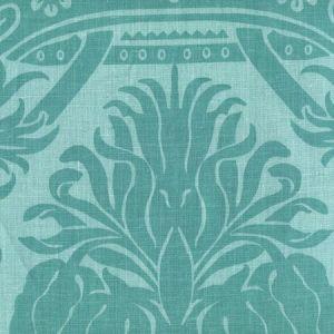 306164F CORINTHE DAMASK Dark Turquoise on Light Turquoise Quadrille Fabric