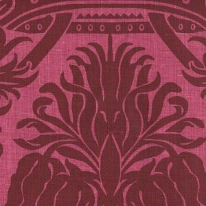 306165F CORINTHE DAMASK Burgundy on Red Quadrille Fabric