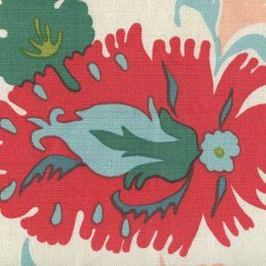 306224W UZBEK Multi Green Pink Blues On Almost White Quadrille Wallpaper