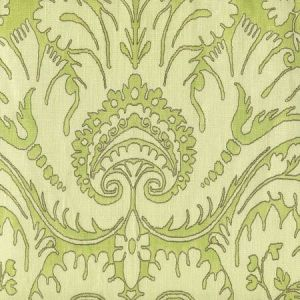306240C-02 BORGHESE Brown Asperge Celadon on Cream Quadrille Fabric
