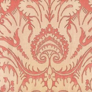 306245F-CU BORGHESE Coral Soft Pink Brown on curtain weight Quadrille Fabric