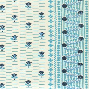 306295CT LINKS II Multi Mojave Blue Turquoise on Cotton Sateen Quadrille Fabric